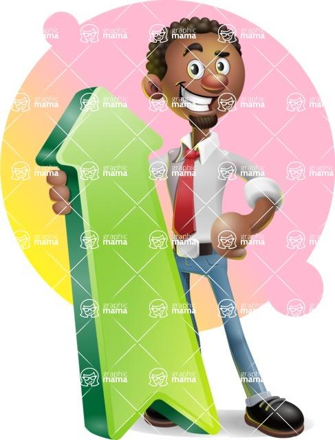 African-American Businessman 3D Vector Cartoon Character - Shape 8