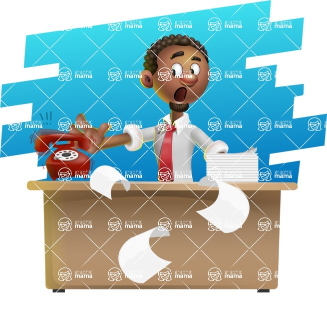 African-American Businessman 3D Vector Cartoon Character - Shape 9