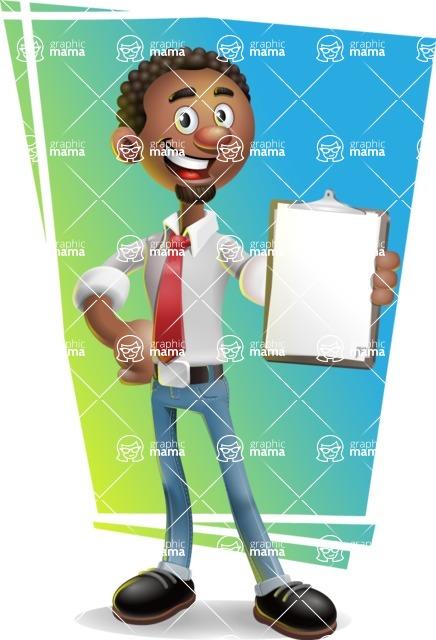 African-American Businessman 3D Vector Cartoon Character - Shape 11