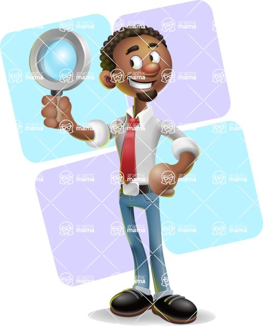 African-American Businessman 3D Vector Cartoon Character - Shape 12