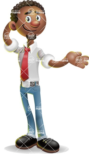 African-American Businessman 3D Vector Cartoon Character - Sorry