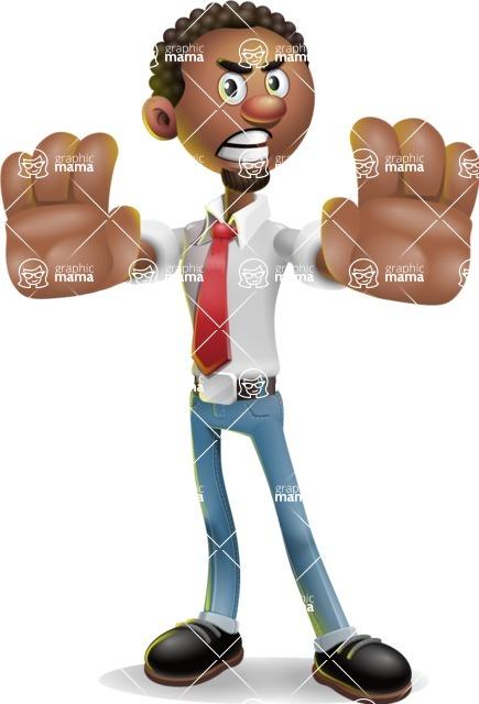 African-American Businessman 3D Vector Cartoon Character - Stop