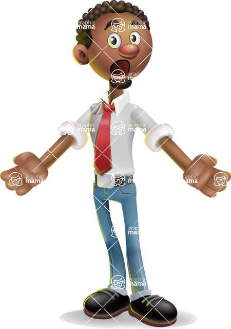 African-American Businessman 3D Vector Cartoon Character - Stunned