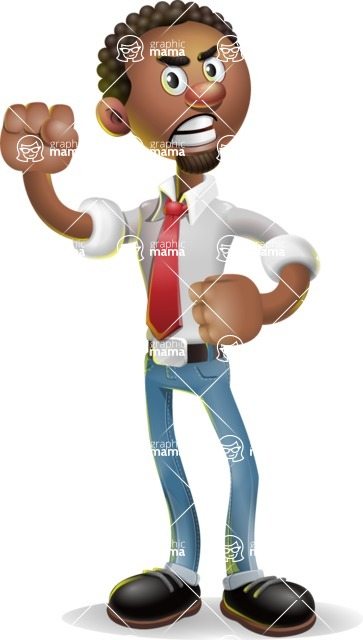 African-American Businessman 3D Vector Cartoon Character - Angry
