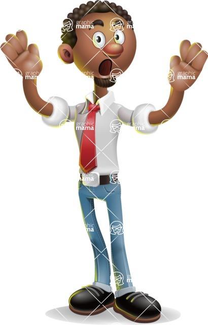 African-American Businessman 3D Vector Cartoon Character - Shocked