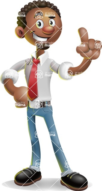 African-American Businessman 3D Vector Cartoon Character - Attention