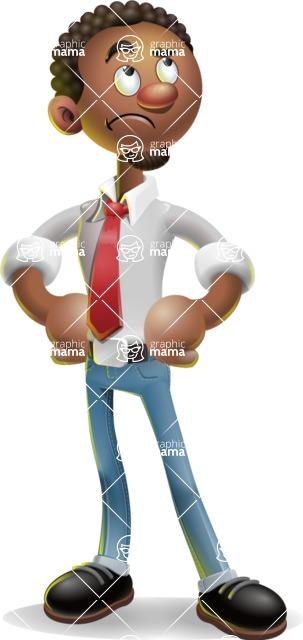 African-American Businessman 3D Vector Cartoon Character - Roll Eyes