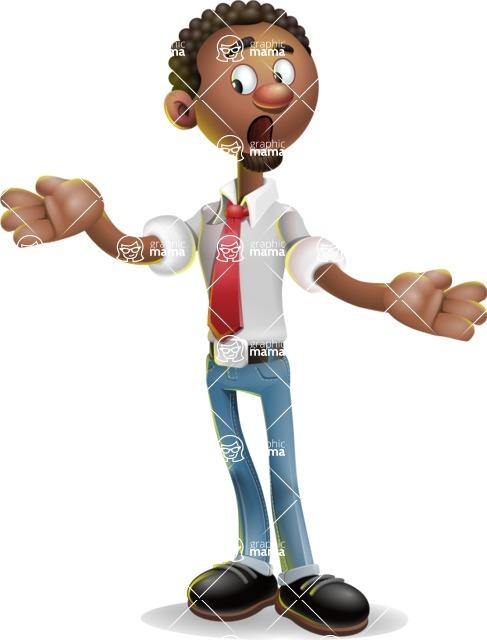 African-American Businessman 3D Vector Cartoon Character - Lost