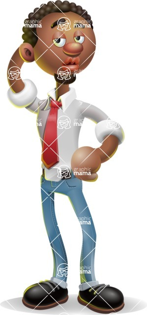 African-American Businessman 3D Vector Cartoon Character - Duckface