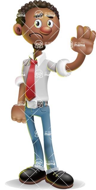 African-American Businessman 3D Vector Cartoon Character - Goodbye