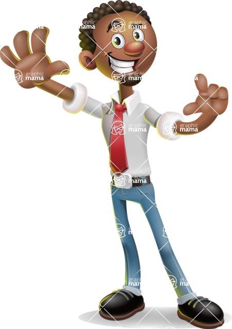 African-American Businessman 3D Vector Cartoon Character - Hello