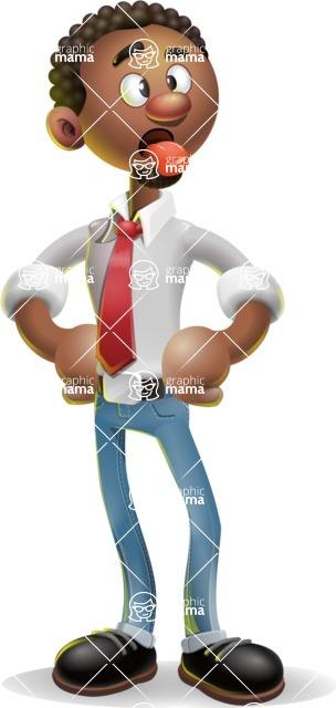 African-American Businessman 3D Vector Cartoon Character - Making Face