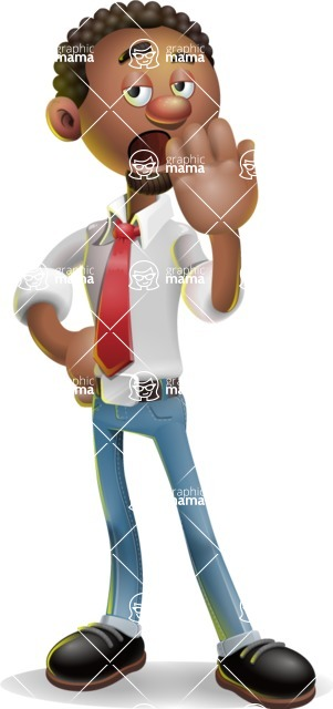 African-American Businessman 3D Vector Cartoon Character - Bored