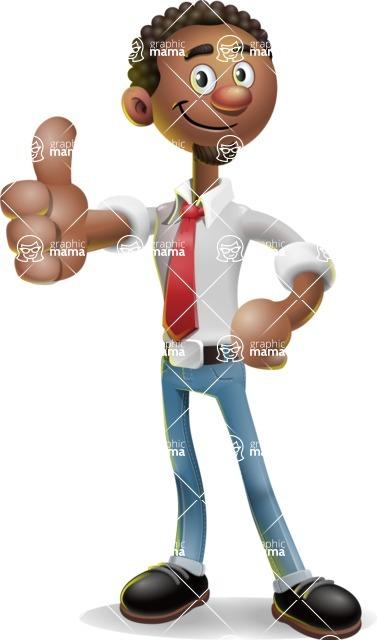 African-American Businessman 3D Vector Cartoon Character - Thumbs Up