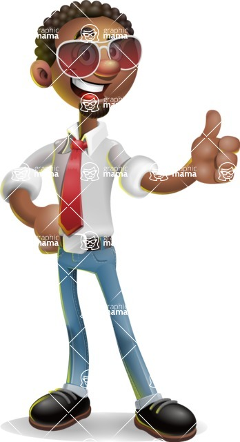 African-American Businessman 3D Vector Cartoon Character - Sunglasses