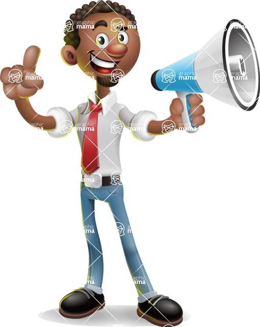 African-American Businessman 3D Vector Cartoon Character - Loudspeaker