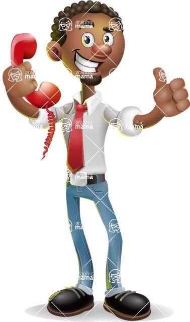African-American Businessman 3D Vector Cartoon Character - Support