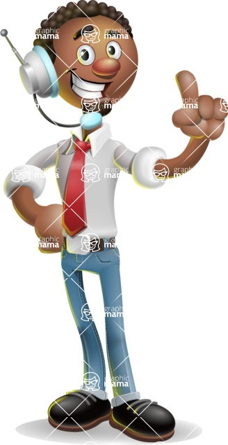African-American Businessman 3D Vector Cartoon Character - Support 2