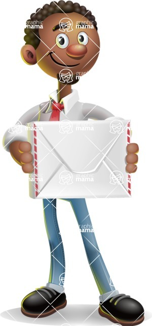 African-American Businessman 3D Vector Cartoon Character - Letter