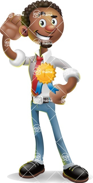 African-American Businessman 3D Vector Cartoon Character - Ribbon