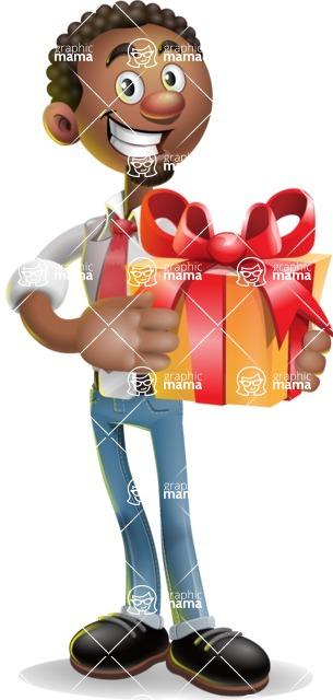 African-American Businessman 3D Vector Cartoon Character - Gift