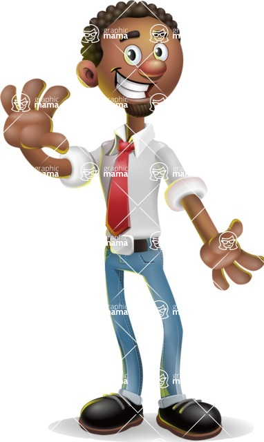 African-American Businessman 3D Vector Cartoon Character - Wave