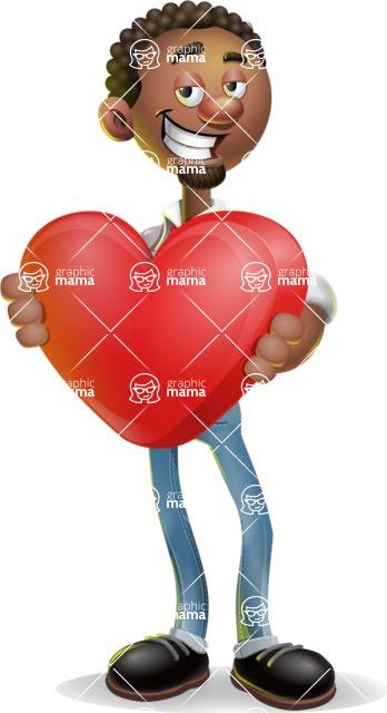 African-American Businessman 3D Vector Cartoon Character - Love