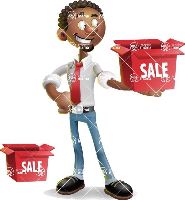 African-American Businessman 3D Vector Cartoon Character - Sale
