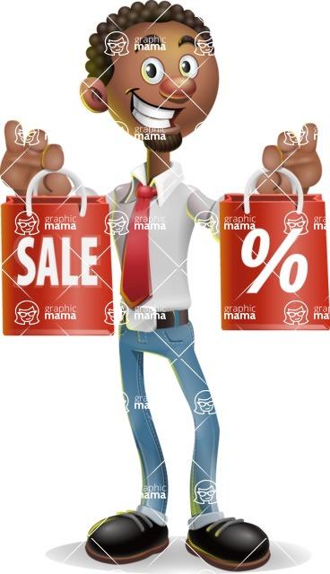 African-American Businessman 3D Vector Cartoon Character - Sale 2