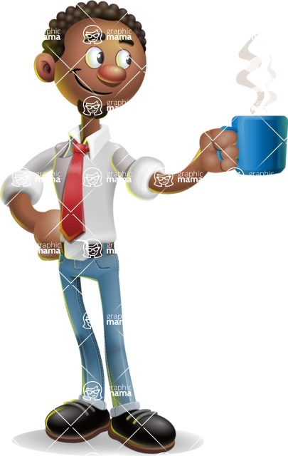 African-American Businessman 3D Vector Cartoon Character - Coffee