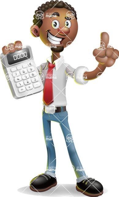 African-American Businessman 3D Vector Cartoon Character - Calculator