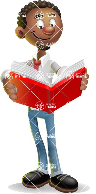 African-American Businessman 3D Vector Cartoon Character - Book 1