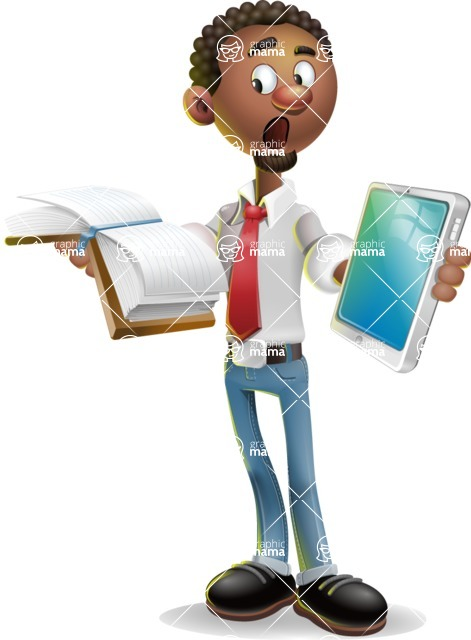 African-American Businessman 3D Vector Cartoon Character - Book and iPad