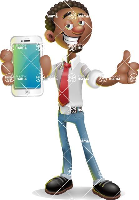 African-American Businessman 3D Vector Cartoon Character - iPhone