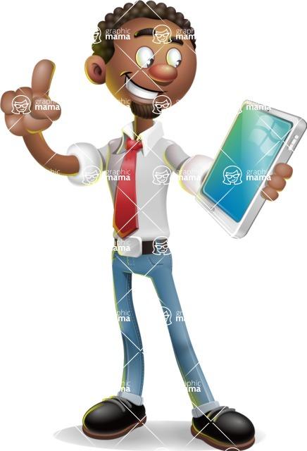 African-American Businessman 3D Vector Cartoon Character - iPad 3