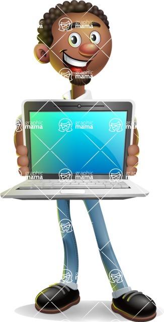 African-American Businessman 3D Vector Cartoon Character - Laptop 2