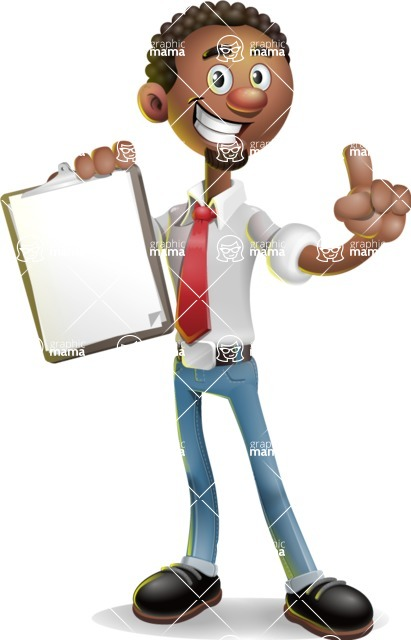 African-American Businessman 3D Vector Cartoon Character - Notepad 1