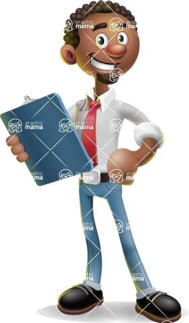 African-American Businessman 3D Vector Cartoon Character - Notepad 2