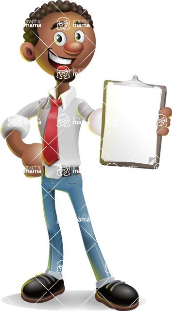 African-American Businessman 3D Vector Cartoon Character - Notepad 4