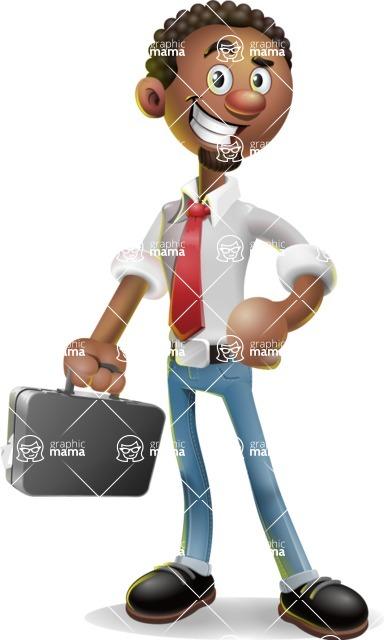 African-American Businessman 3D Vector Cartoon Character - Briefcase 1