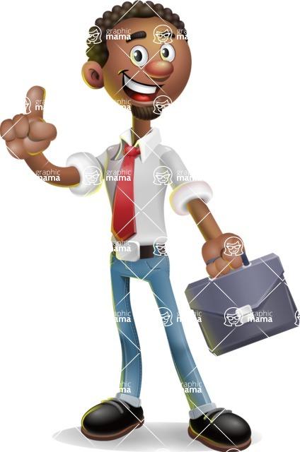 African-American Businessman 3D Vector Cartoon Character - Briefcase 2