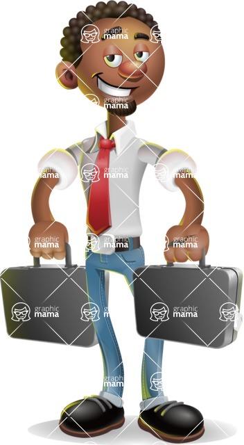 African-American Businessman 3D Vector Cartoon Character - Briefcase 3