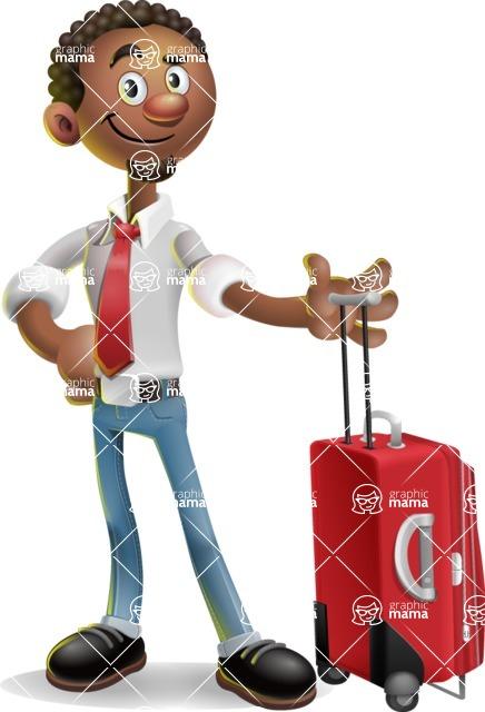 African-American Businessman 3D Vector Cartoon Character - Travel 1