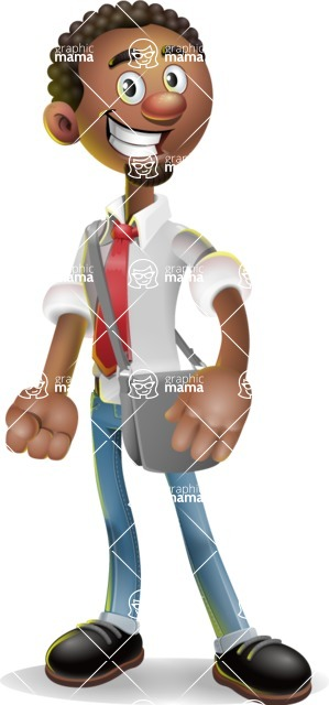 African-American Businessman 3D Vector Cartoon Character - Travel 2