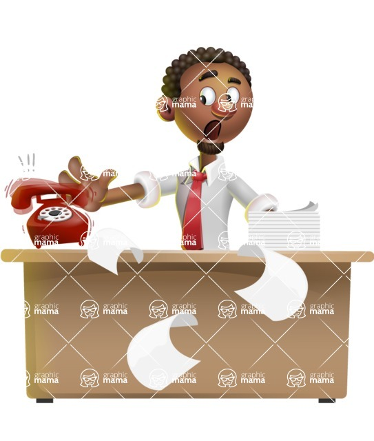 African-American Businessman 3D Vector Cartoon Character - Banana