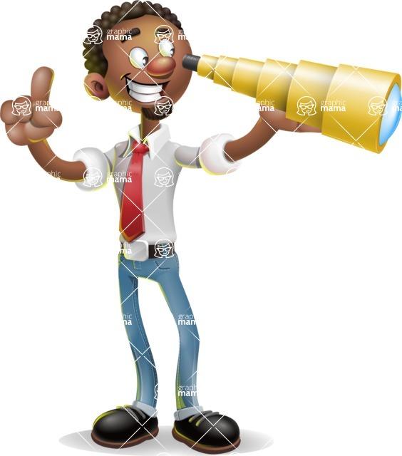 African-American Businessman 3D Vector Cartoon Character - Telescope