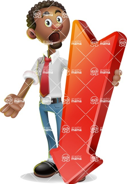 African-American Businessman 3D Vector Cartoon Character - Pointer 3