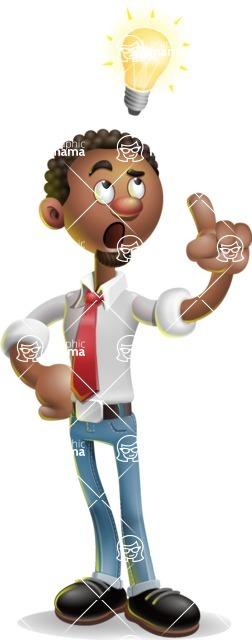 African-American Businessman 3D Vector Cartoon Character - Idea 2