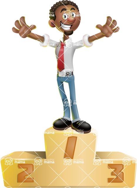 African-American Businessman 3D Vector Cartoon Character - On Top