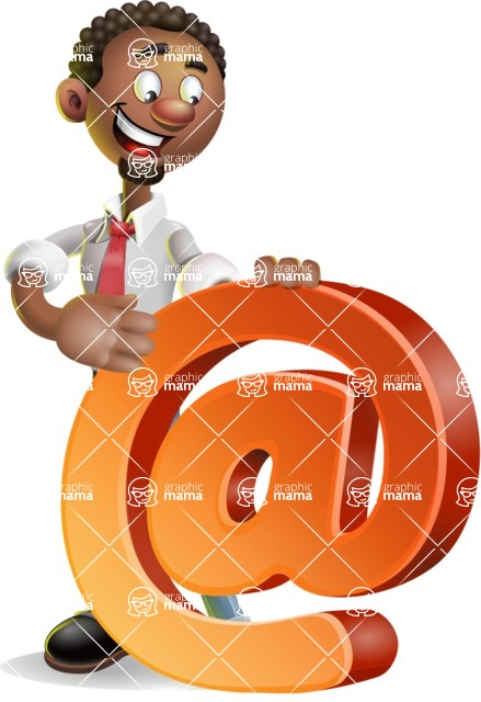 African-American Businessman 3D Vector Cartoon Character - Email